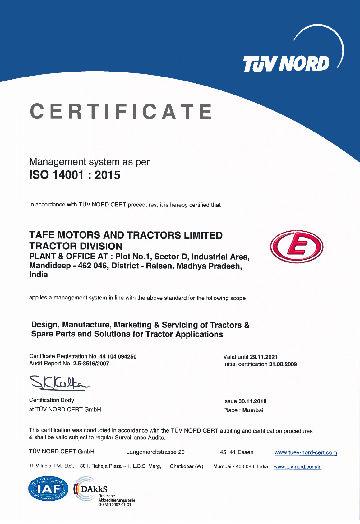TMTL | Certifications | Eicher Engines | TAFE Motors and